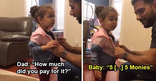 Dad asks little girl about stolen jacket