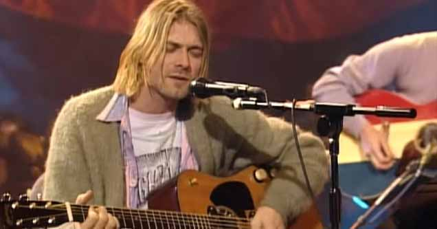 Kurt Cobain during Nirvana's 'MTV Unplugged' performance