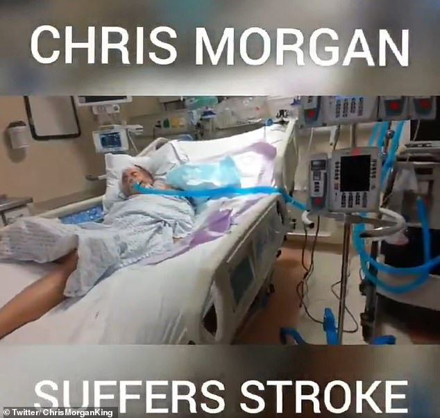 Chris Morgan the bagel boss laying in a hospital bed after having s atroke