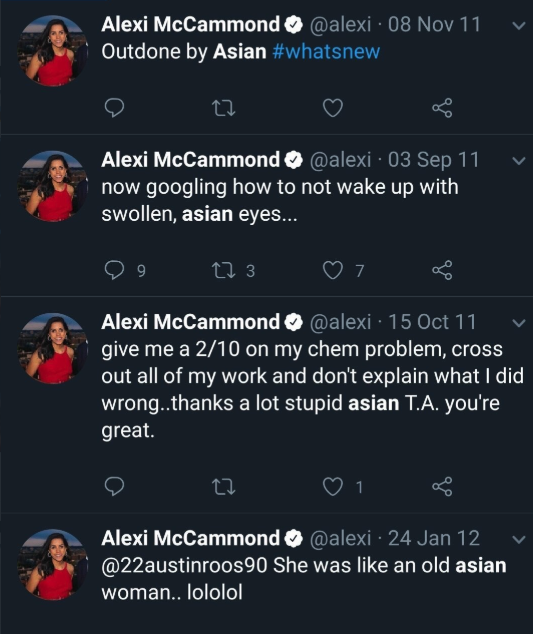 Alexi McCammond old tweets about asian people
