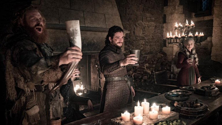 Tormund Giantsband, Jon Snow, and Daenerys Targaryen cheers in Season 8 of Game of Thrones.