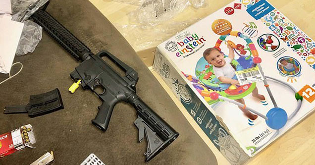 This bizarre story comes no other place than the great state of Florida, where buying baby toys at Goodwill could possibly net you a fully loaded semi-auto rifle for the low price of ten bucks.