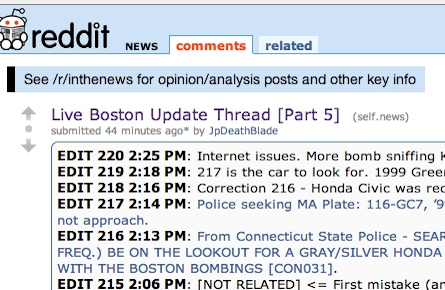 Boston Bombing Reddit witch hunt screenshots