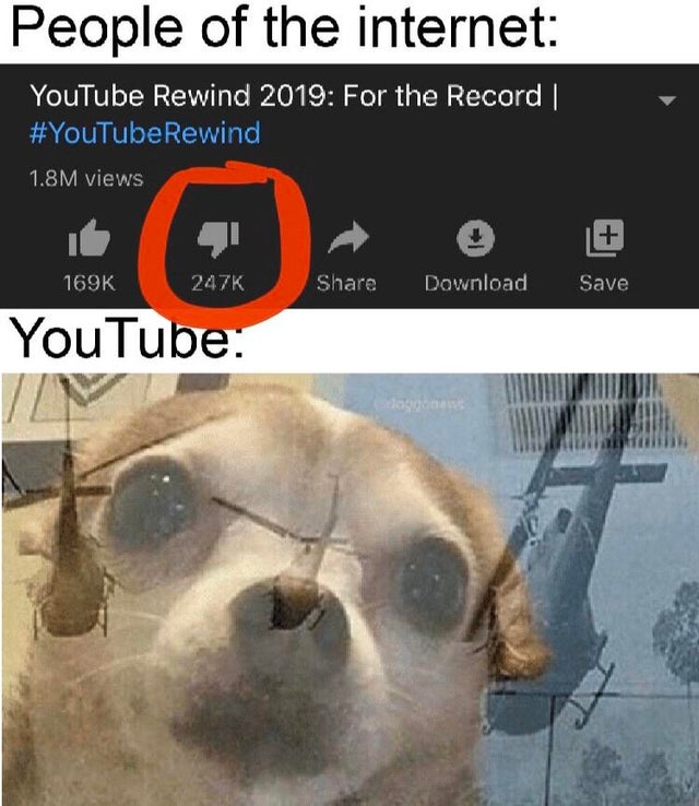 People of the internet - YouTube Rewind 2019 For the Record - picture of a dog superimposed over helicopters - meme