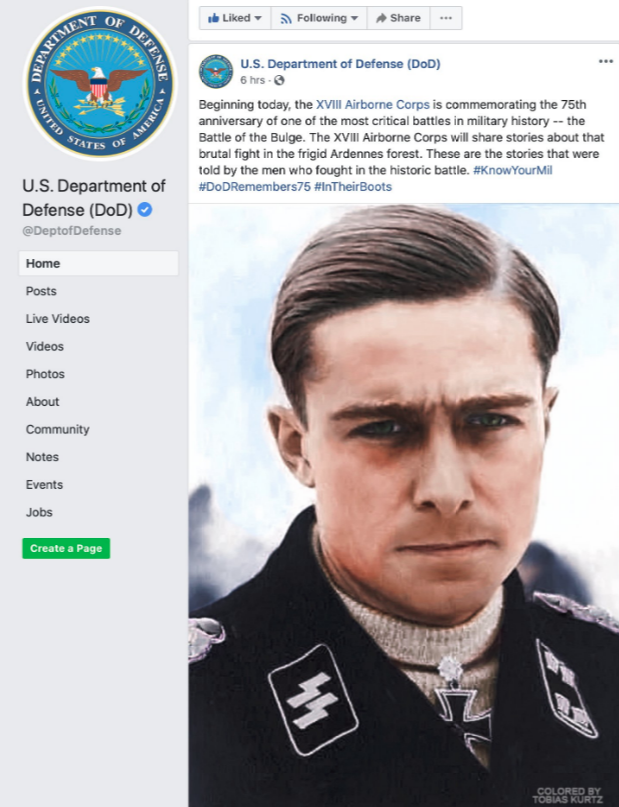 DOD postes picture of Nazi war criminal in epic facepalm for 75th anniversary of The Battle Of The Bulge