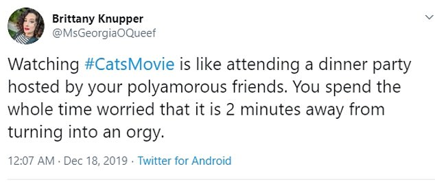 Tweet about worrying that an orgy will break out when watching the Cats-Movie at dinner party hosted by polyamorous friends