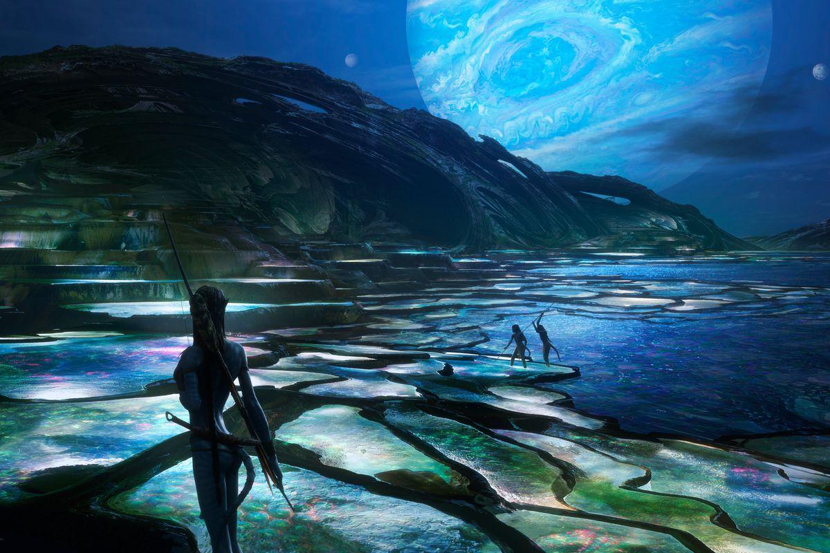 scene from the new avatar 2 movie of an ocean like scene
