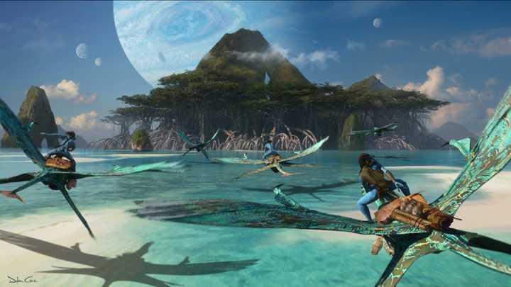 new avatar 2 movie scene of the avatars flying over water