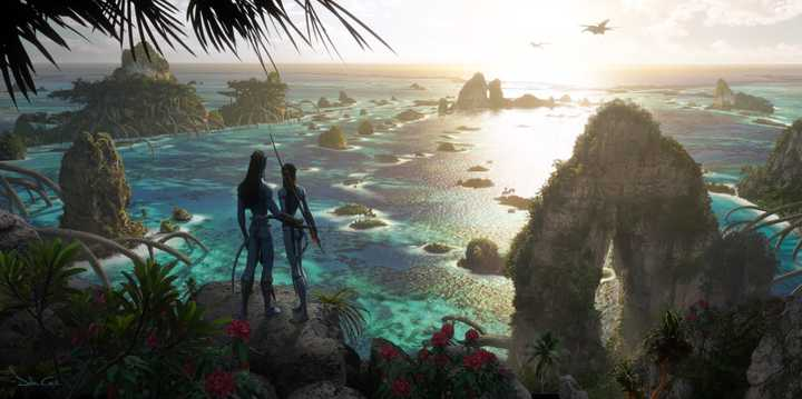 avatar 2 movie scene of two avatars looking over at water