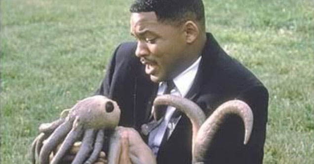 Will Smith holding a baby alien - Grimes and Elon Musk are expecting their first child