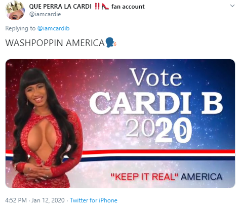 QUE PERRA LA CARDI ‼️ fan account @iamcardie Replying to  @iamcardib WASHPOPPIN AMERICA