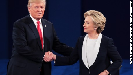 trump and Hillary shaking hands