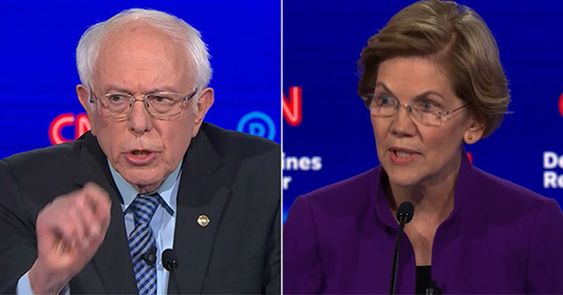 bernie sanders and elizabeth warren democratic debate
