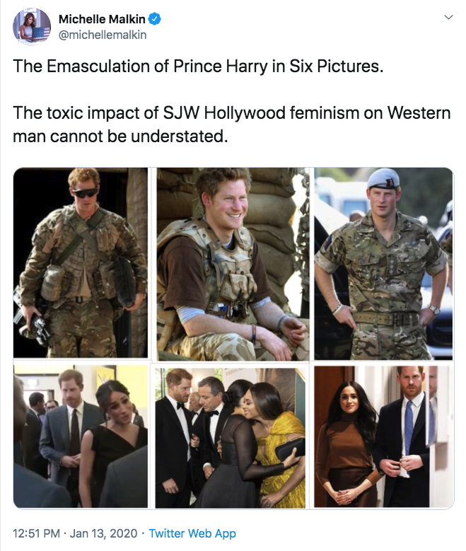 the emasculation of prince harry in six pictures - the dumbest twitter thread ever | the toxic impact of sjw hollywood feminism on western man cannot be understate.