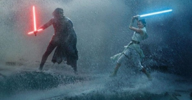 Kylo Ren and Rey Skywalker battle in a scene from Star Wars: The Rise of Skywalker