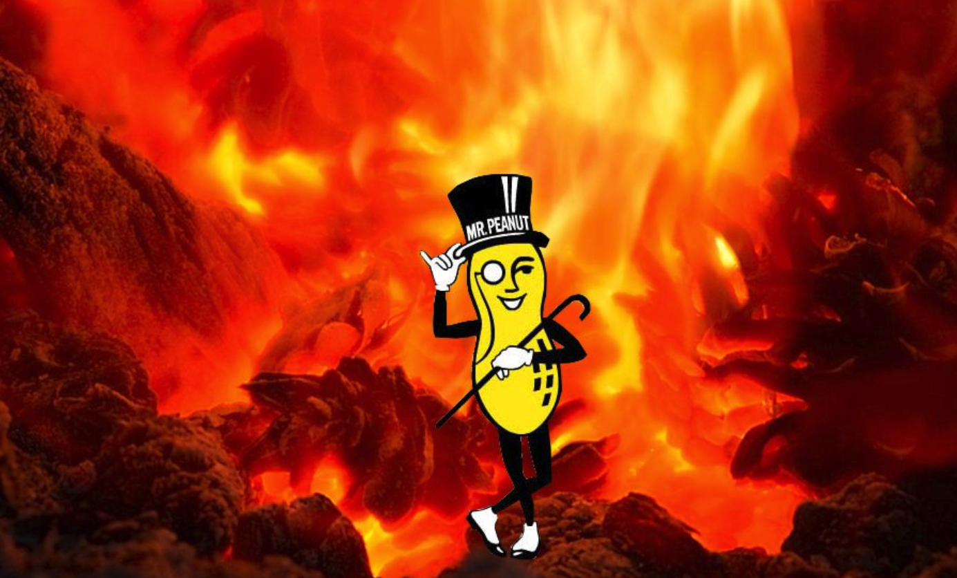 Mr Peanut has died and gone to hell