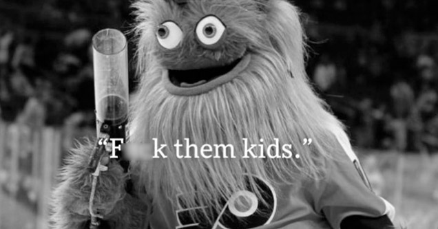 Philly Flyers mascot Gritty looking insane