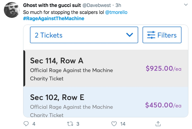 Rage against the machine 2020 tour prices