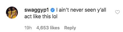 Instagram comments in response to Steph sexy IG post