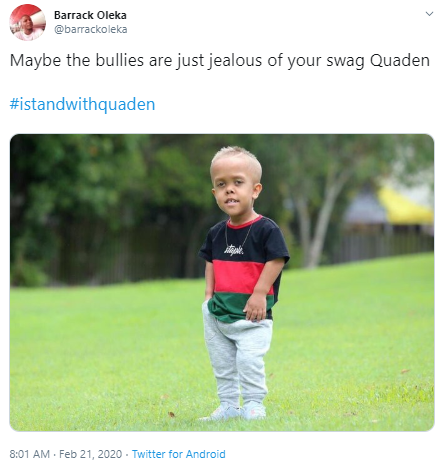 Barrack Oleka @barrackoleka Maybe the bullies are just jealous of your swag Quaden  #istandwithquaden