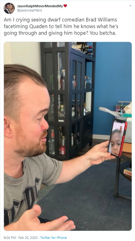 JasonRalphMinorMendedMy♥️ @jasonralphfans Am I crying seeing dwarf comedian Brad Williams facetiming Quaden to tell him he knows what he's going through and giving him hope? You betcha.
