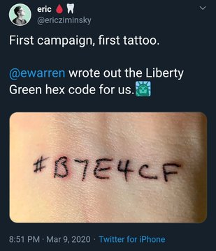 elizabeth warren liberty green hex code tattoo