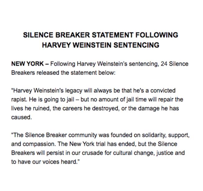 silence creakers statement on Harvey Weinstein's sentencing