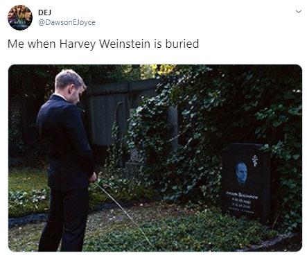 DEJ @DawsonEJoyce Me when Harvey Weinstein is buried