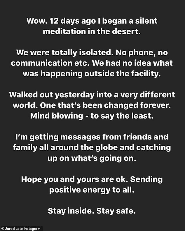 Jared Leto posts about how he just learned about the Coronavirus after a 12-day meditation