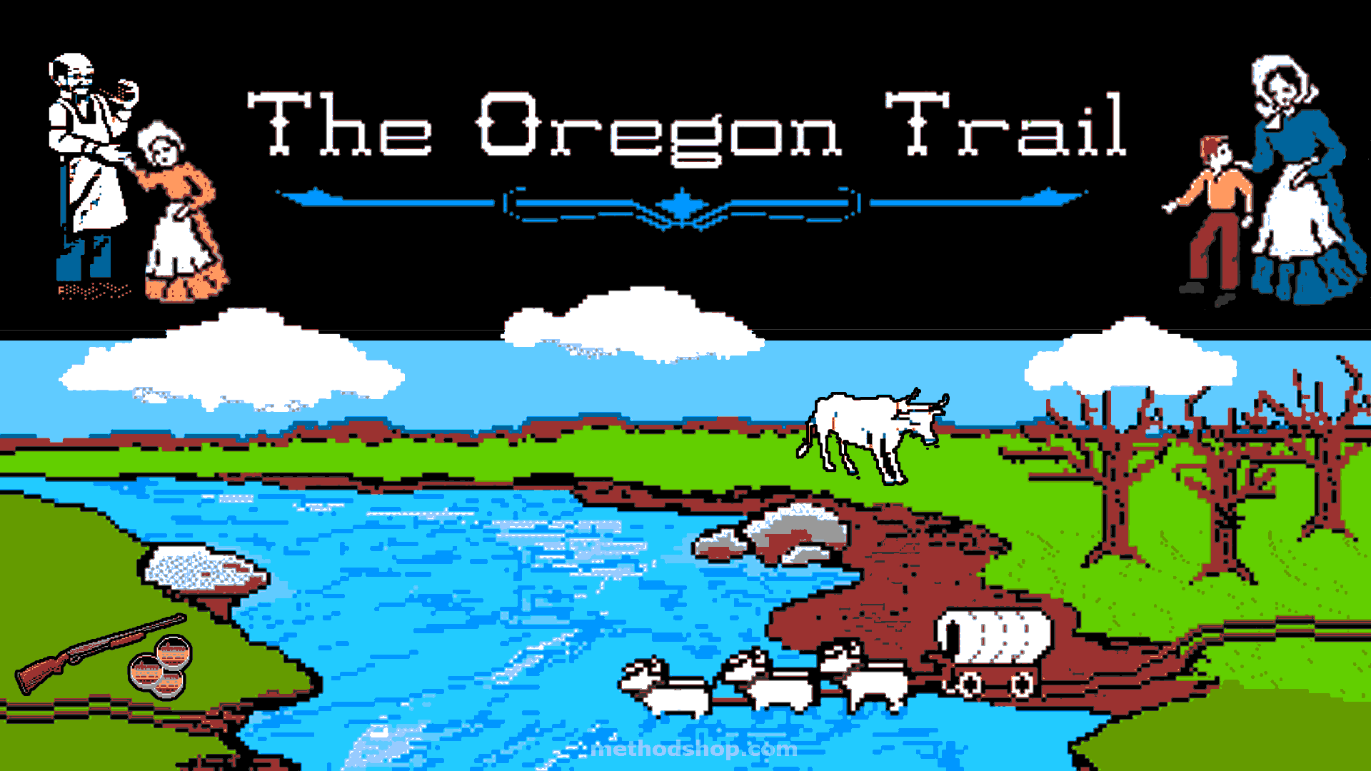 Screenshot from the classic 80s game The Oregon Trail. Available to play online.