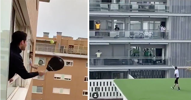 Italians playing balcony tennis and doing roof aerobics to keep busy during quarantine