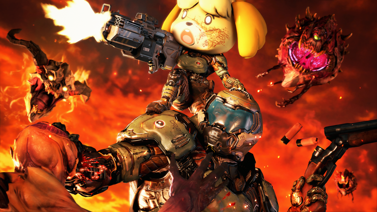 animal crossing, doom eternal, memes, crossover