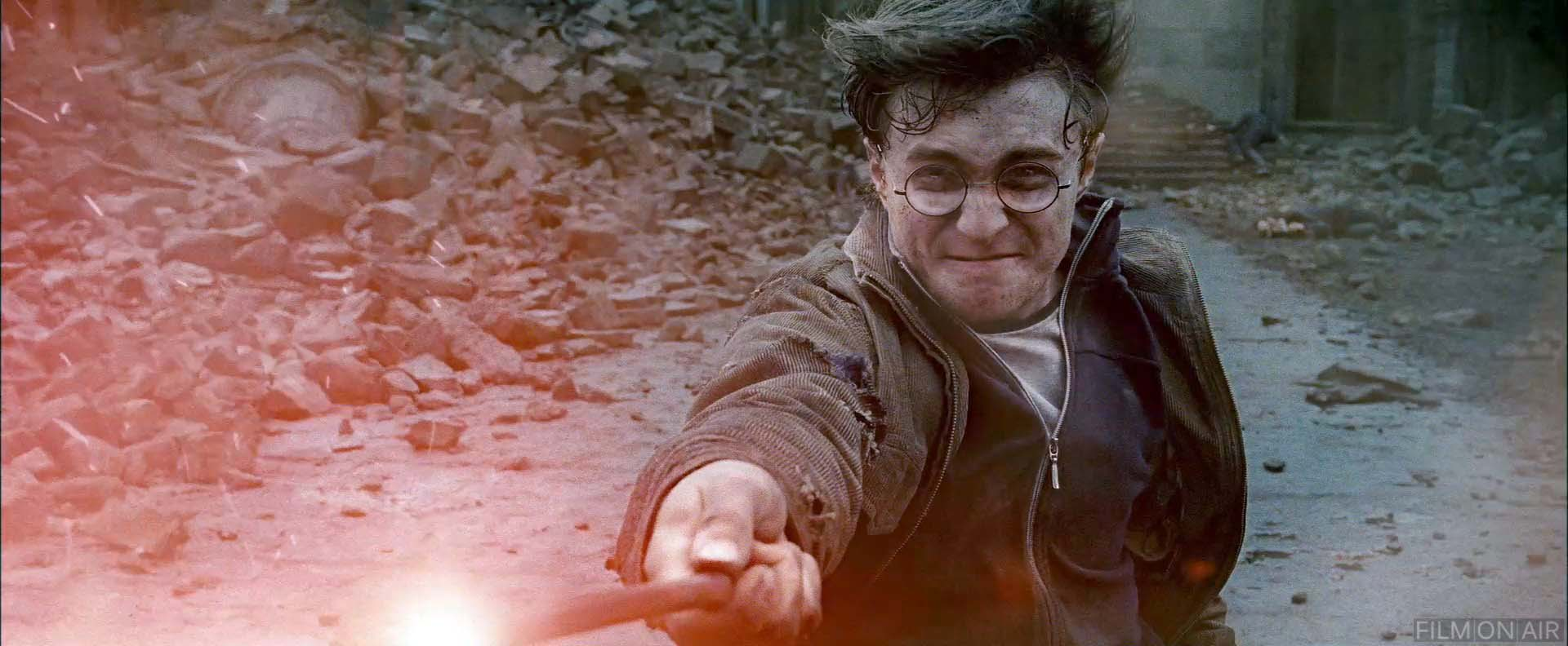 harry potter shooting his wand at the virus