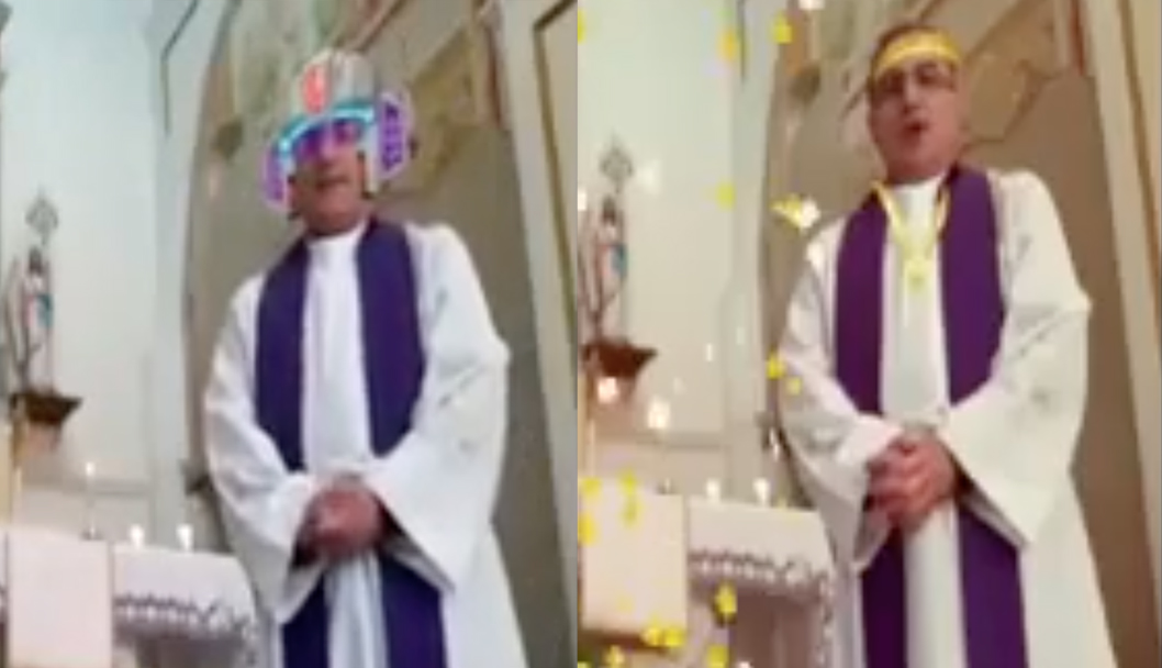 priest turns on facial filters during live stream mass