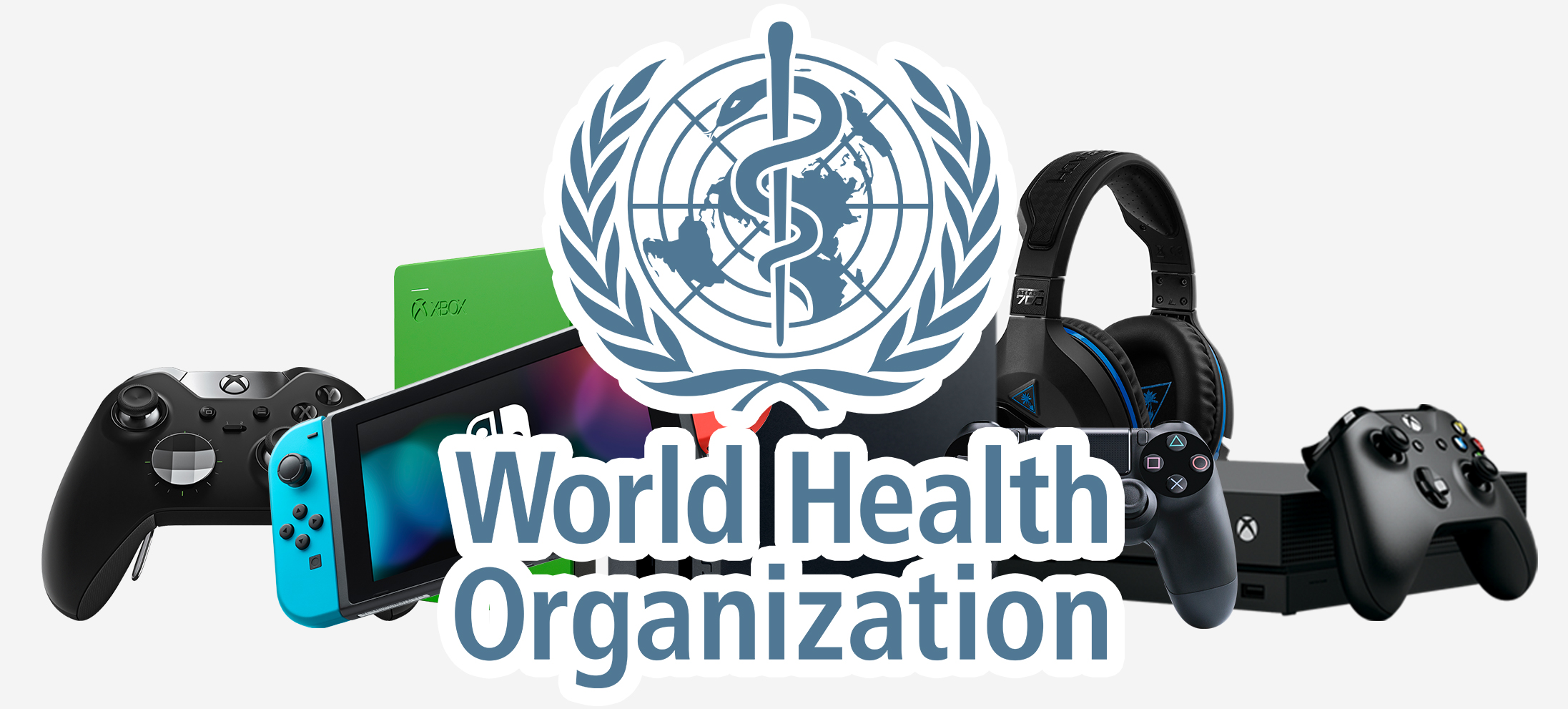 World Health Organization logo pile of video game controllers and systems