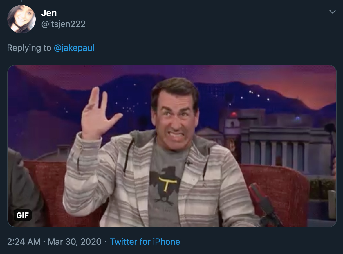 jake paul tweet - comedian rob riggle reaction gif