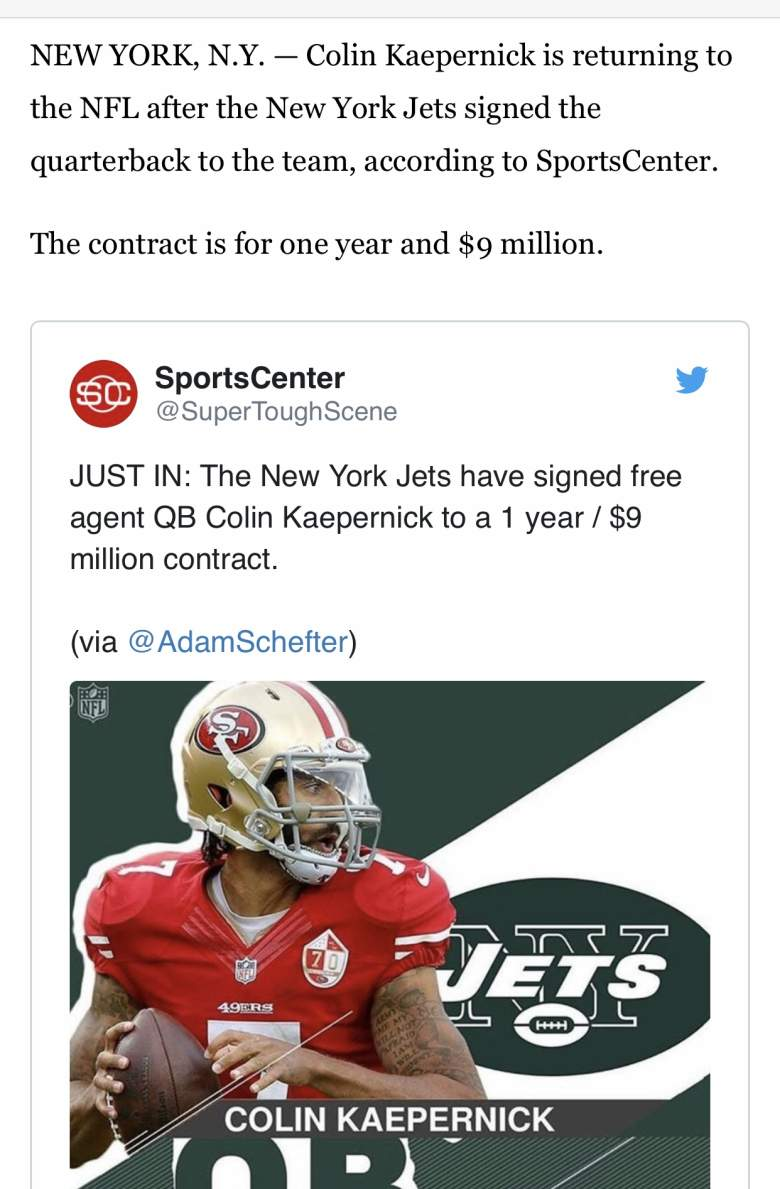 Scrrenshot from the Fox8 story on the fake Colin Kaepernick signing.