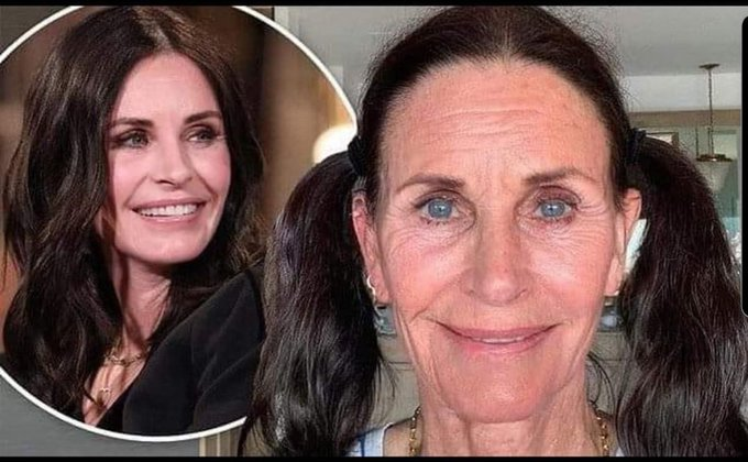 Adrenochrome Twitter Memes - photoshopped image of Courtney Cox looking old