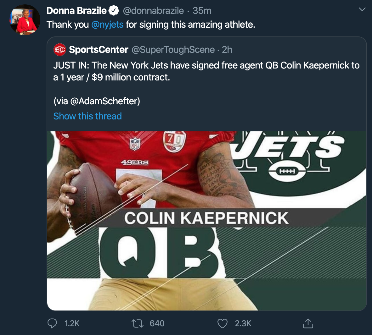 Donna Brazile tweet about the fake Colin Kaepernick story.