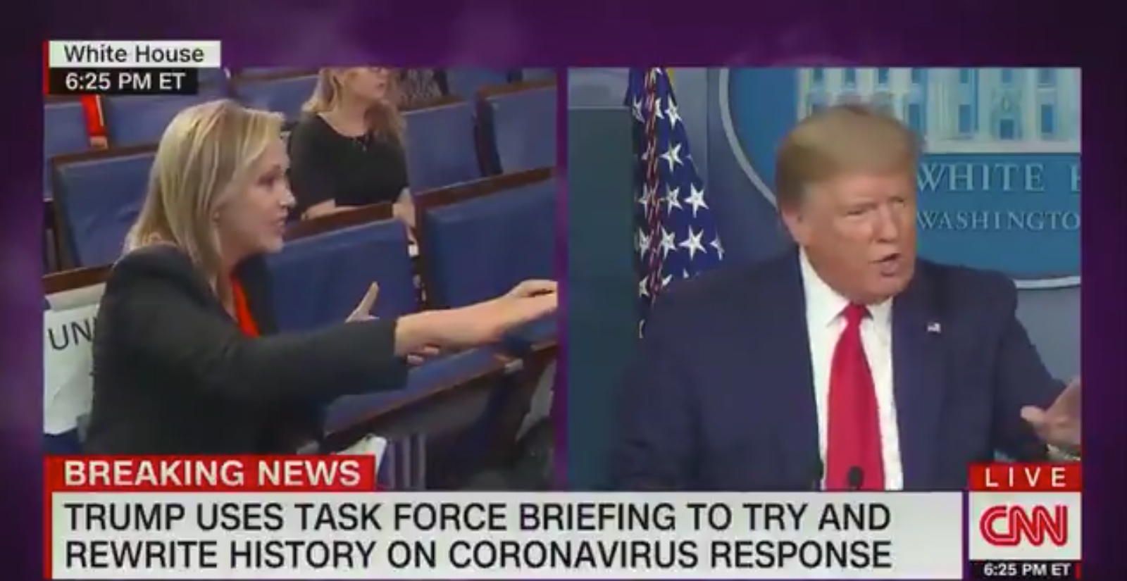 trump cnn chyron trump uses task force briefing to try and rewrite history on coronavirus response