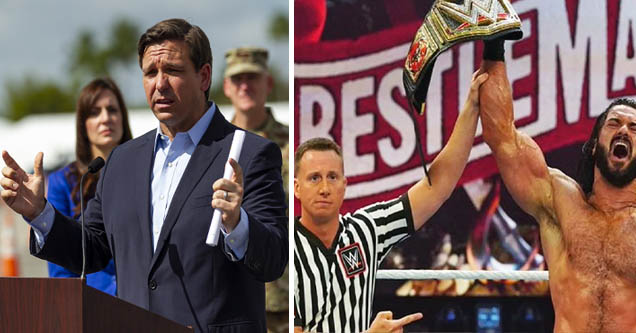 Florida Governor Ron DeSantis and a photo from a WWE event