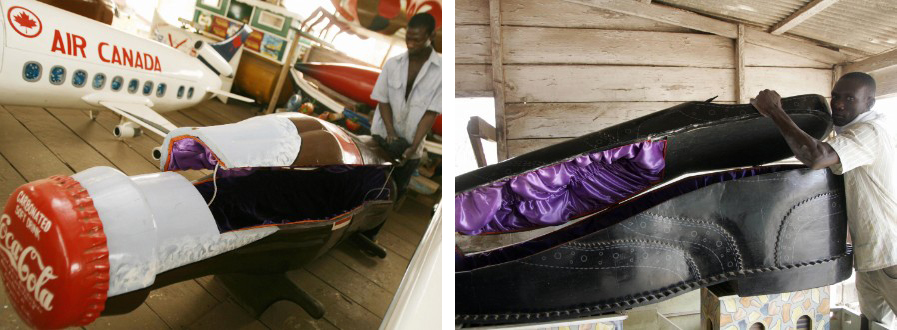 coca-cola and leather shoe shaped coffins in ghana, africa