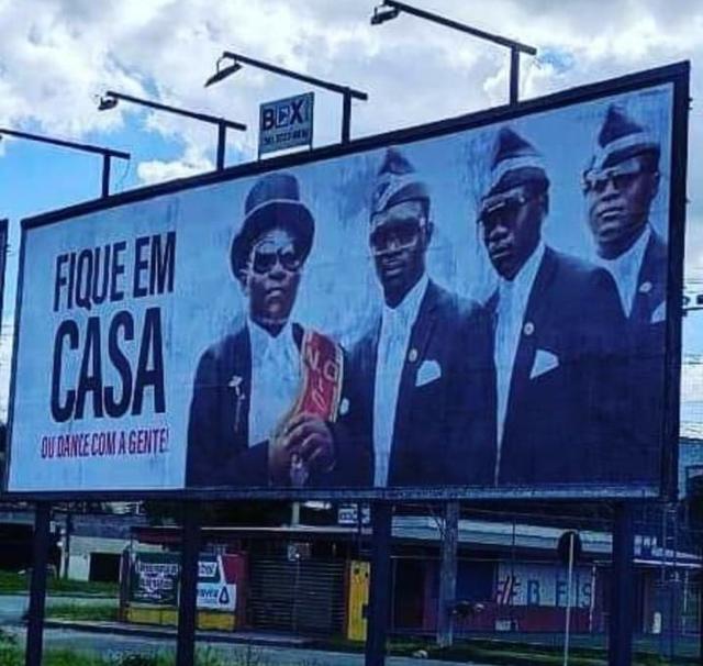 billboard advertising dancing pallbearers
