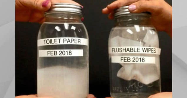 flushable wipes demo showing they don't disintegrate