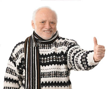 Hide the Pain Harold gives thumbs up