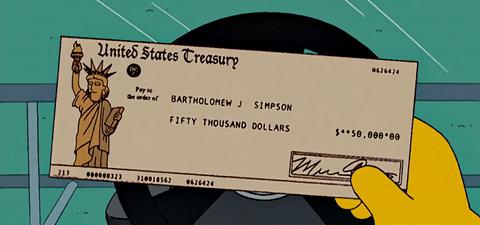 bart simpson treasury check