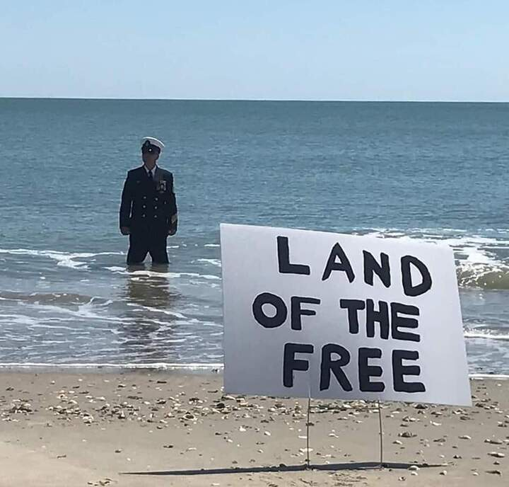Land of the Free - Navy Admiral North Carolina beach protest