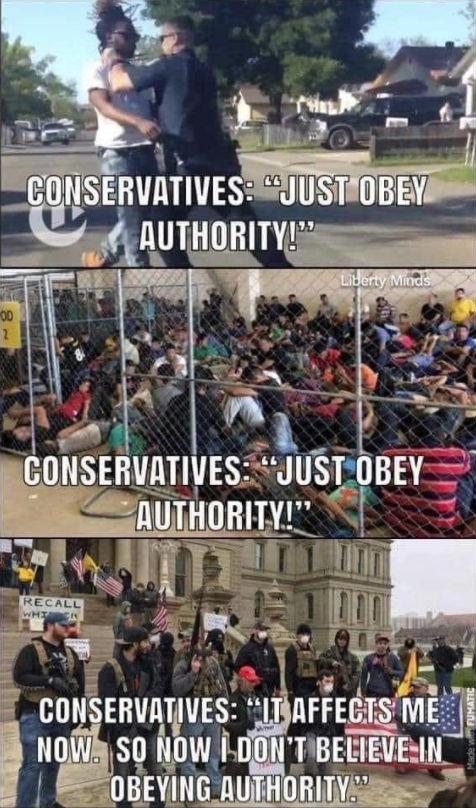 meme about conservative not obeying authority