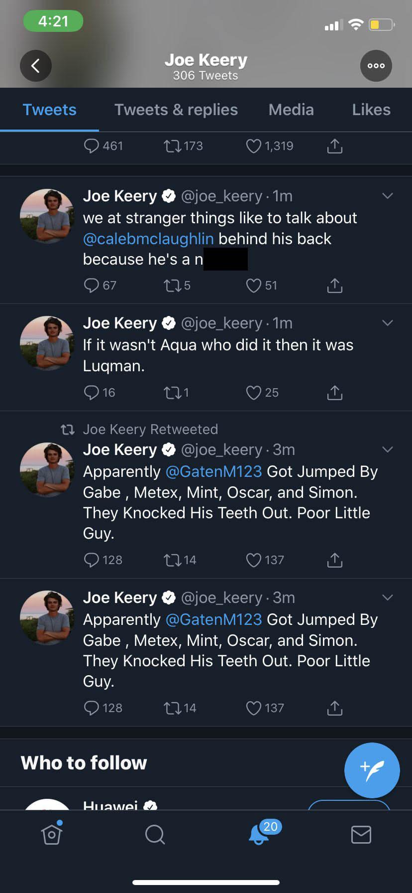 Stranger Things Joe Keery hacked tweets