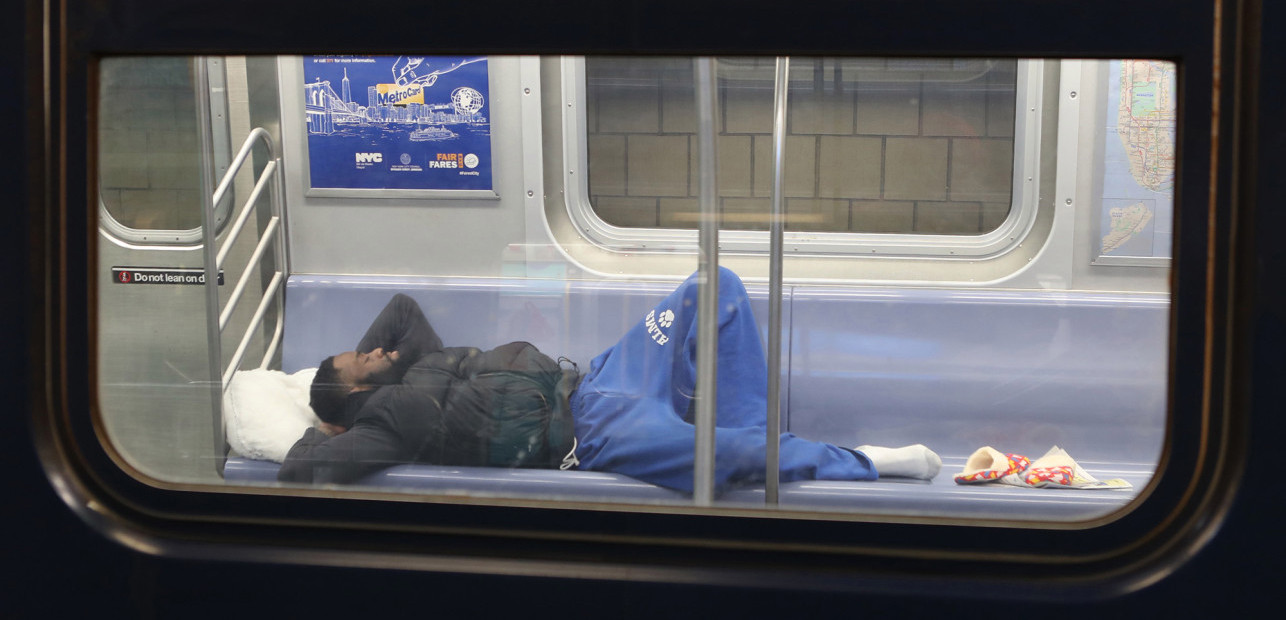 homeless people on nyc subway